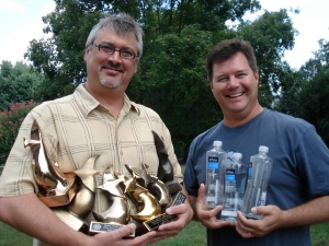 Don with his Dove Awards / Ed with his water bottles